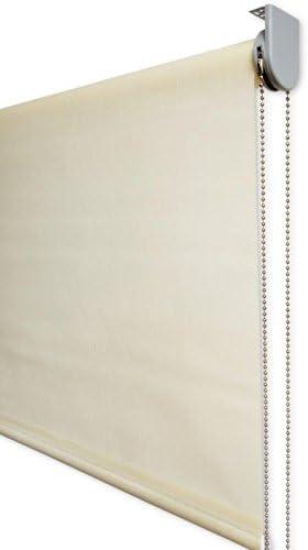 Estor Enrollable Visillo Premium Metal (Desde 40 hasta 300cm de Ancho) Transparente (máxima claridad y Visibilidad Exterior). Color Beige. Medida 84cm x 200cm para Ventanas y Puertas