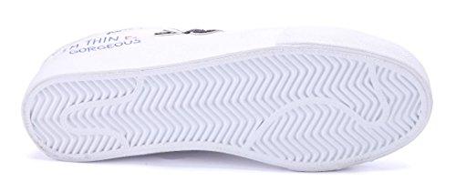 Schuhtempel24 Damen Schuhe Low Sneaker Flach Glitzer/Nieten Weiß
