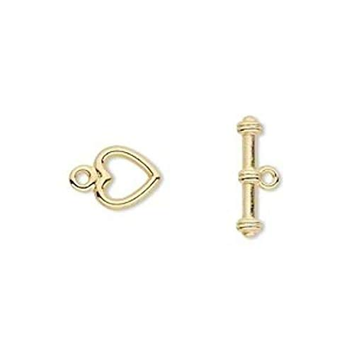 (10 Sets Small Gold Plated Pewter 8X7.5Mm Heart Toggle Clasps)