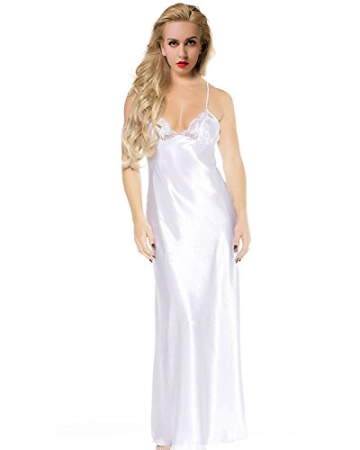 ETAOLINE Women's Sexy Lace Satin Sleepwear Full Length Slip Lingerie Plus Size,White,XX-Large ()
