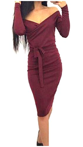 Long Silm sleeve Neck Skinny Wine Dresses Sexy Belt Red Women's Solid V Coolred nR0H6wqg