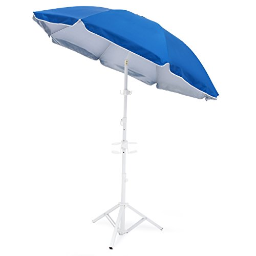(Best Choice Products 5.5ft Beach Umbrella w/Tripod Base and Carrying Case -)