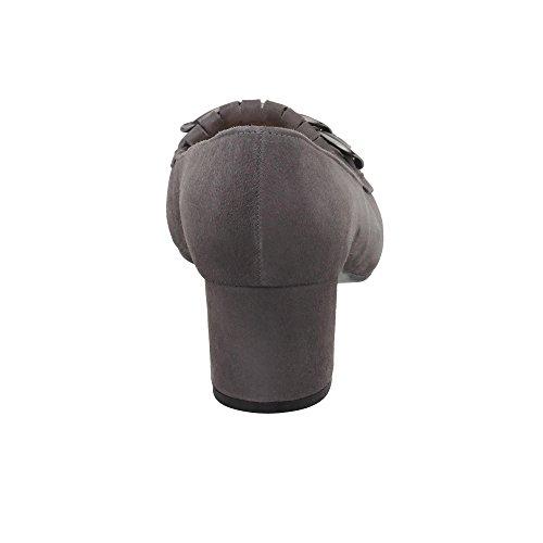 Gabor 75.274-67 Damen Pumps Aus Veloursleder verstellbares Riemchen mit Stretch Grau