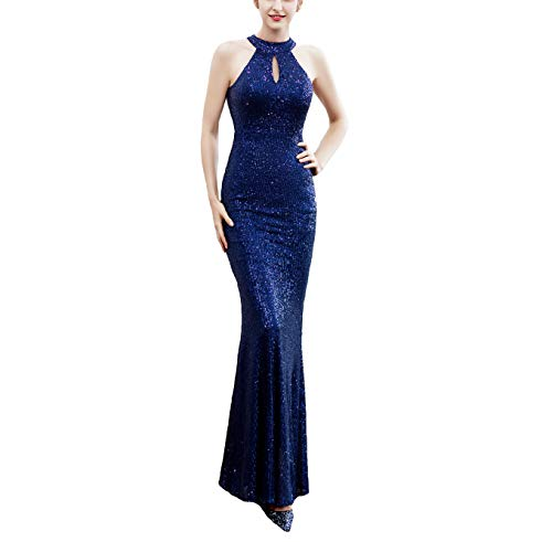 Slim Prom Gown - Chowsir Women Elegant Halter Fishtail Slim Cocktail Party Evening Bridesmaid Long Dress (Large, 16229Navy Blue)