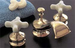 Thames Widespread Lav Set With Cross-Point Handles - Chrome Plated Brass - (Faucet Lav Widespread Set)