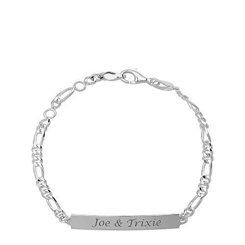 Engraved Sterling Silver Ladie's Figaro ID Bracelet 0.925 ()