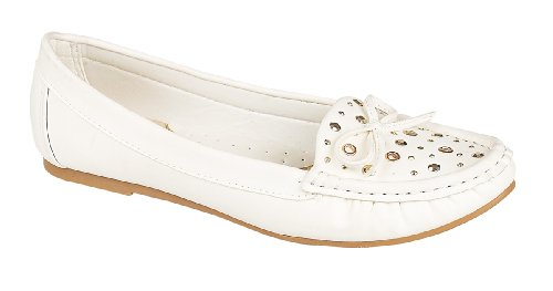 Ladies L4950 Stud and Bow Trim Flat Moccasin Casual Shoe White b0cHvmQbJ