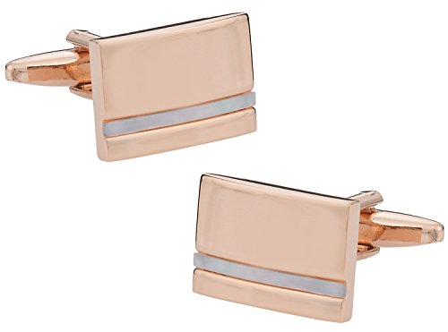 Cuff-Daddy Mother of Pearl Rose-Gold Tone Cufflinks with Presentation Box