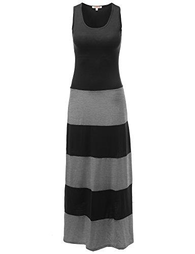 Stripe Colorblock Sleeveless Tank Maxi Dresses Gray Size L