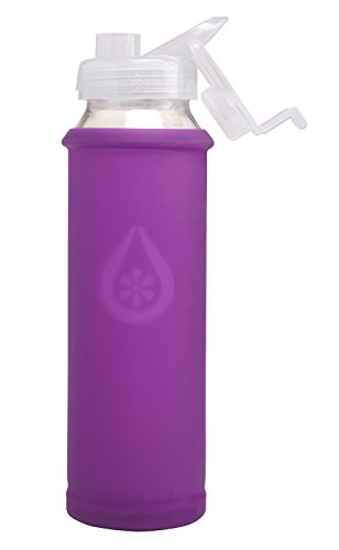 Eveau Glass Water Bottle with Flip Lid, Iris Bumperguard Silicone Sleeve, Wide Mouth Opening, 21 Ounce/630 ml