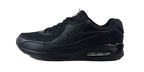Zapatillas deportivas para hombre, con cordones, estilo casual, textil, W/Grey/Black, UK9 / EUR 44 Negro