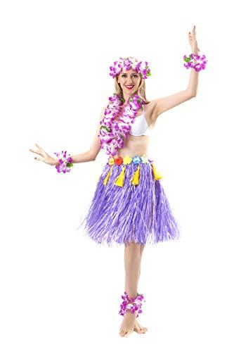 (Maiheimoon Hawaiian Hula Skirt Grass Double Layer Thickened Dancing Skirt for Beach Party (Length 23.6