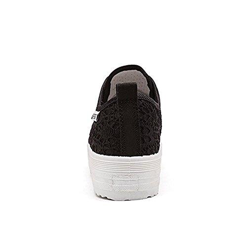 Deportivos Casuales Zapatos Zapatos Respirables de Mujer Negro Al Aire de Zapatos Libre Lona Minetom Planos Primavera E805wx