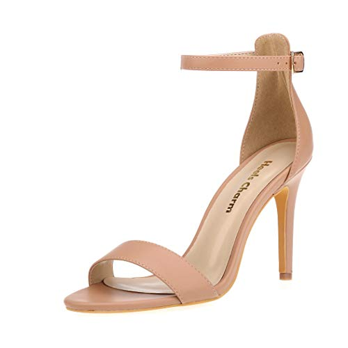 (Women's Strappy Heeled Sandals Open Toe Stiletto Ankle Strap High Heel 4 Inch Dress Shoes Nude Size 9)