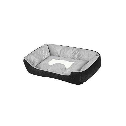 luciphia Textiles Reversible Rectangle Pet Bed with Dog Paw and Bone Printing Bone-Black,S(23.6x17.7In) ()