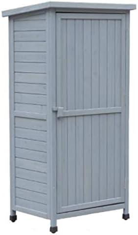 ガーデンキャビネット屋外木製ツールキャビネット防水4ティア調整レイヤーガーデンツールは、コートヤード雑貨ボックスをシェッド 物品棚 (Color : Gray, Size : 69.5*52*142 cm)