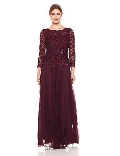 Cachet Women's Faux 2 Piece Lace Gown, Wine, 18 (Lace Cachet Skirt)
