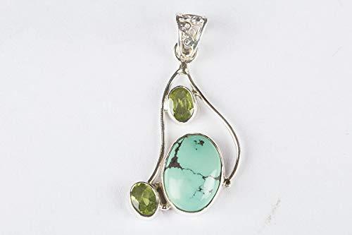 (Natural Turquoise with Peridot Oval Shape Gemstone Pendant 925 Sterling Silver Birthstone Designer Locket Handmade Jewelry)