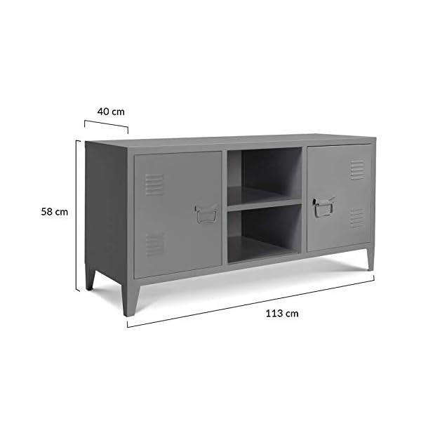 IDMarket – Meuble TV 2 Portes ESTEL en métal Gris foncé