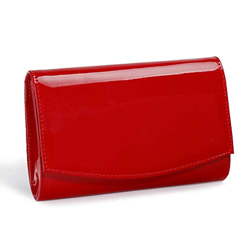 White Patent Bag - Women Patent Leather Wallets Clutch Purses,WALLYN'S Evening Bag Handbag Solid Color Red