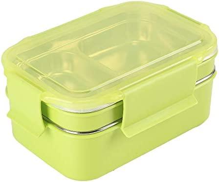 HUAFA Fiambrera, Lunch Box, Contenedores de Alimentos, 1300ml Fiambrera Acero Inoxidable, Contenedor para Niños o Adultos (Verde)