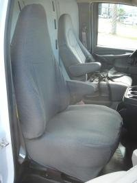 Durafit Seat Covers, 2010-2018 Chevy Express Front Captain Chairs (Version Without Grab Handle on Passenger Seat Backrest) Made in Brown Twill ()