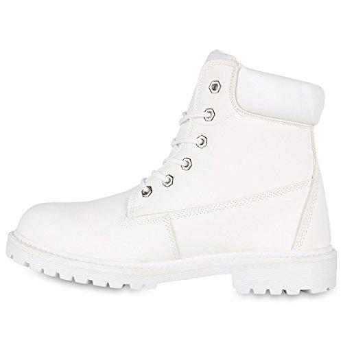 Stiefelparadies Herren Worker Boots Profilsohle Stiefeletten Gefütterte Outdoor Schuhe Schnürboots Wildleder-Optik Nieten Camouflage Flandell Weiß