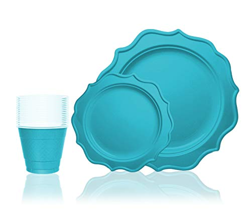 Tiger Chef 144-Pack Turquoise Color Round Scalloped Rim Disposable Plastic Plate Set for 48 Guests Includes 48 10-Inch Dinner Plates, 48 8-Inch Salad Plates - BPA-Free (Blue Plates Peacock)