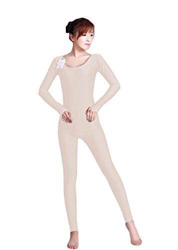 WOLF UNITARD Long Sleeve Unitard Bodysuit Dancewear Medium (Flesh Colored Bodysuit)
