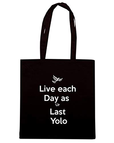 Speed Shirt Borsa Shopper Nera TKC0359 KEEP CALM AND LIVE EACH DAY AS UR LAST YOLO