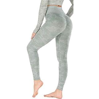RUNNING GIRL Camo Leggings Gym Scrunch Butt Seamless High Waisted Tummy Control Stretch Workout Yoga Pants for Women(CK2365.Green.S)