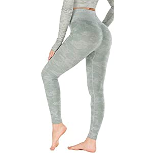RUNNING GIRL Camo Leggings Gym Scrunch Butt Seamless High Waisted Tummy Control Stretch Workout Yoga Pants for Women