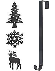 Kerstkrans Hanger voor voordeur, 15-25 inch lengte verstelbare kranshaken metalen kranshaak hangers Xmas Over deurhaak voor kransen kerstdecoratie, met kerstboom, sneeuwvlokken, eland Decor
