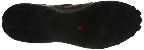 Salomon L37845600, Zapatillas de Senderismo Unisex Adulto Negro (Black /     Black /     Racing Red)