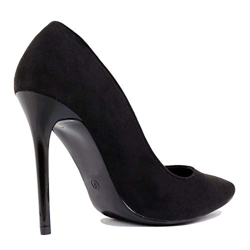 Suede Heel Party Sexy Toe Pointy On Classic Office High Black Heart Slip Dress Guilty Formal Womens Pump UxqTa1F