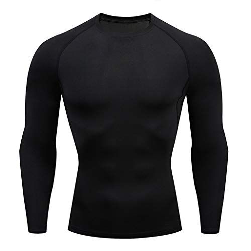 Stoota Men's Casual Fitness Fast Drying Elastic Breathable Sports Tight Long Sleeve Tops Black -