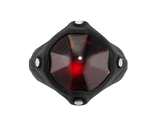 David Yurman Sterling Silver Steel Anvil Signet Garnet Ring Size 10 New Box 28R10