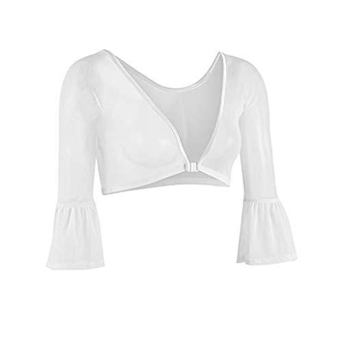 St.Dona Women Half Flare Blouse Sheer Mesh Both Side Wear Plus Size Seamless Arm Shaper Top Shirt Blouses
