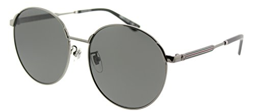 (Gucci GG 0206SK 002 Ruthenium Metal Round Sunglasses Grey Lens)