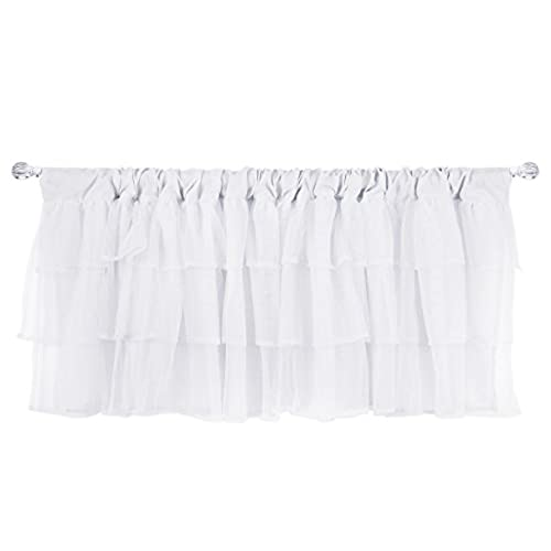 Tadpoles Layered Tulle Window Valance, White, 60x16 Inch