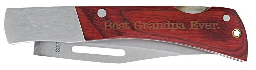 Christmas Gift for Grandpa Best Grandpa Ever Laser Engraved Pocketknife Wood & Stainless Steel Lockback Pocket Knife (Lockback Steel Knife Stainless Engraved)