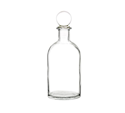 Perfume Studio Clear Boston Round Bottle with an Air Tight Glass Stopper; 8.6oz / 255ml Lead Free Glass Bottle. Ideal for Essential Oils, Perfume Oils, Cooking Oils, Extracts, Salad Dressings, Vinegar
