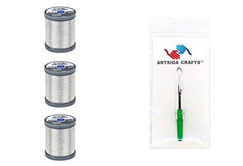 Coats & Clark Metallic Embroidery Thread 125 Yds (3-Pack) Silver Bundle with 1 Artsiga Crafts Seam Ripper S990-9420-3P - Coats & Clark Metallic Thread