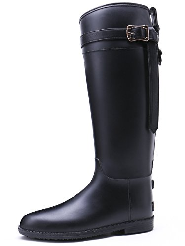 TONGPU tall knee-high knotted buckle strap rain boot (10, Black) (Buckle Knotted)