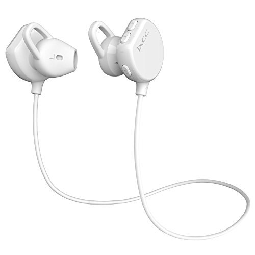 Bluetooth Headphones, iXCC Wireless Sports Earphones Half-in-Ear EarBuds, Apt-x Stereo, Bluetooth V4.1, IPX4 Nano Coating Sweatproof, Noise Cancelling Headset - White