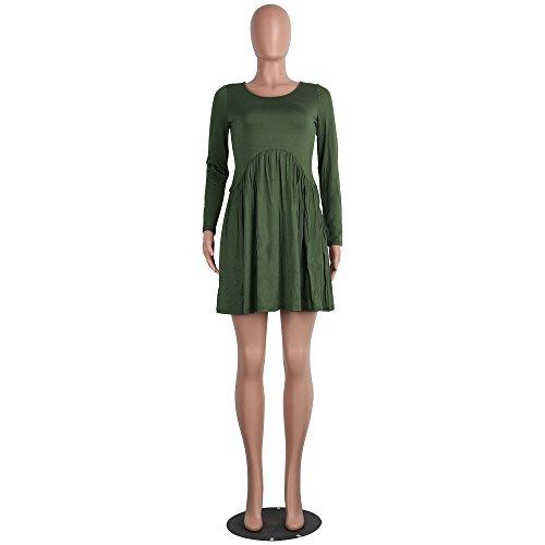 Vestido Otoño Ocasional Mujer Largo Verde Boho Las Vestido de de DOGZI Vestidos Vestido Larga Mujeres Maxi Suelto Ejercito Manga Sólida xwtREYq