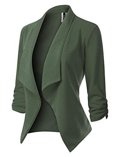 MixMatchy Women's [Made in USA] Classic 3/4 Gathered Sleeve Open Front Blazer Jacket (S-3XL) Olive 3XL (Neck Tweed Jacket)
