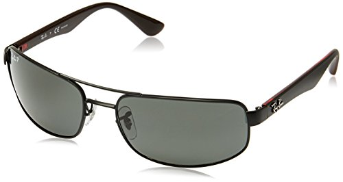 Ray-Ban RB3445 - MATTE BLACK Frame POLAR DARK GREY Lenses 61mm - Curved Prescription Sunglasses