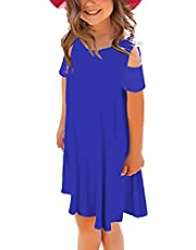 storeofbaby Girls Summer Casual Dress Cold Shoulder Loose Ruffled Sleeve Shirt Dresses