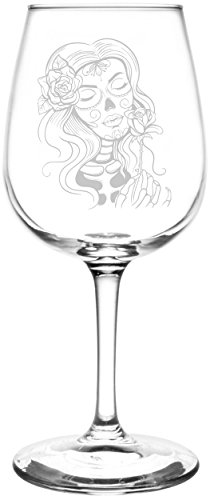 Personalized & Custom (Rose Sugar Skull Girl) Funny And Scary Happy Halloween Celebration, Decoration, & Novelty Inspired - Laser Engraved 12.75oz Libbey All-Purpose Wine Taster Glasses